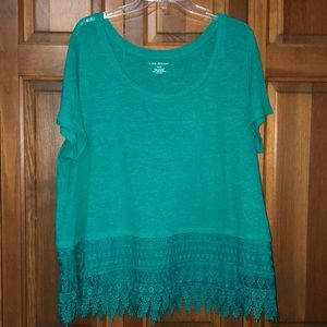 Lane Bryant Green/Blue Short Sleeve